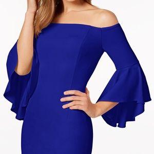 Blue Off-the-shoulder Sheath Dress